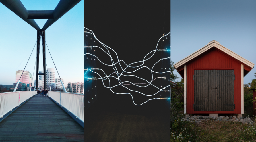 Photo collage of houses and electric wires.