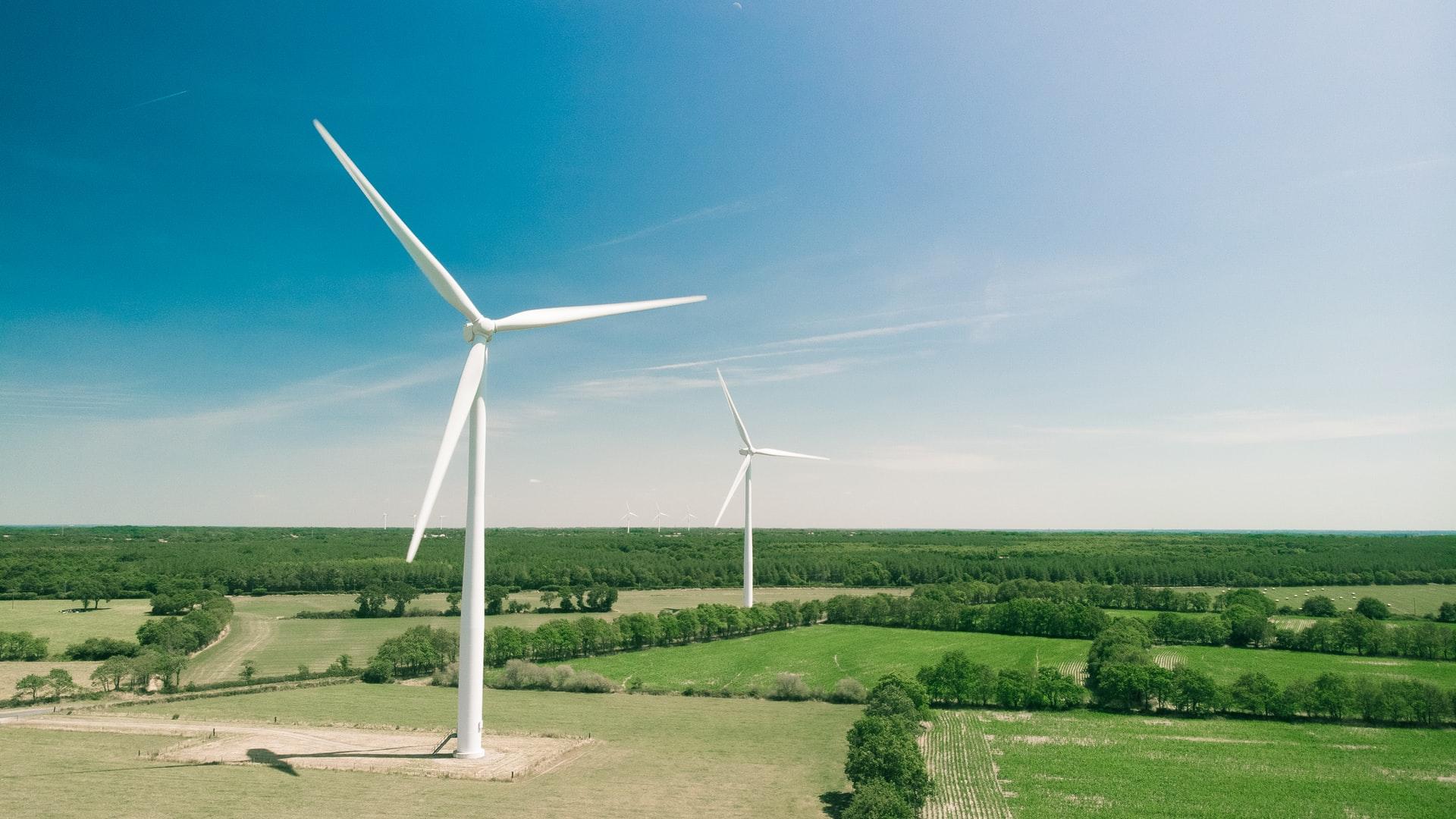 Two windmills. Photo.