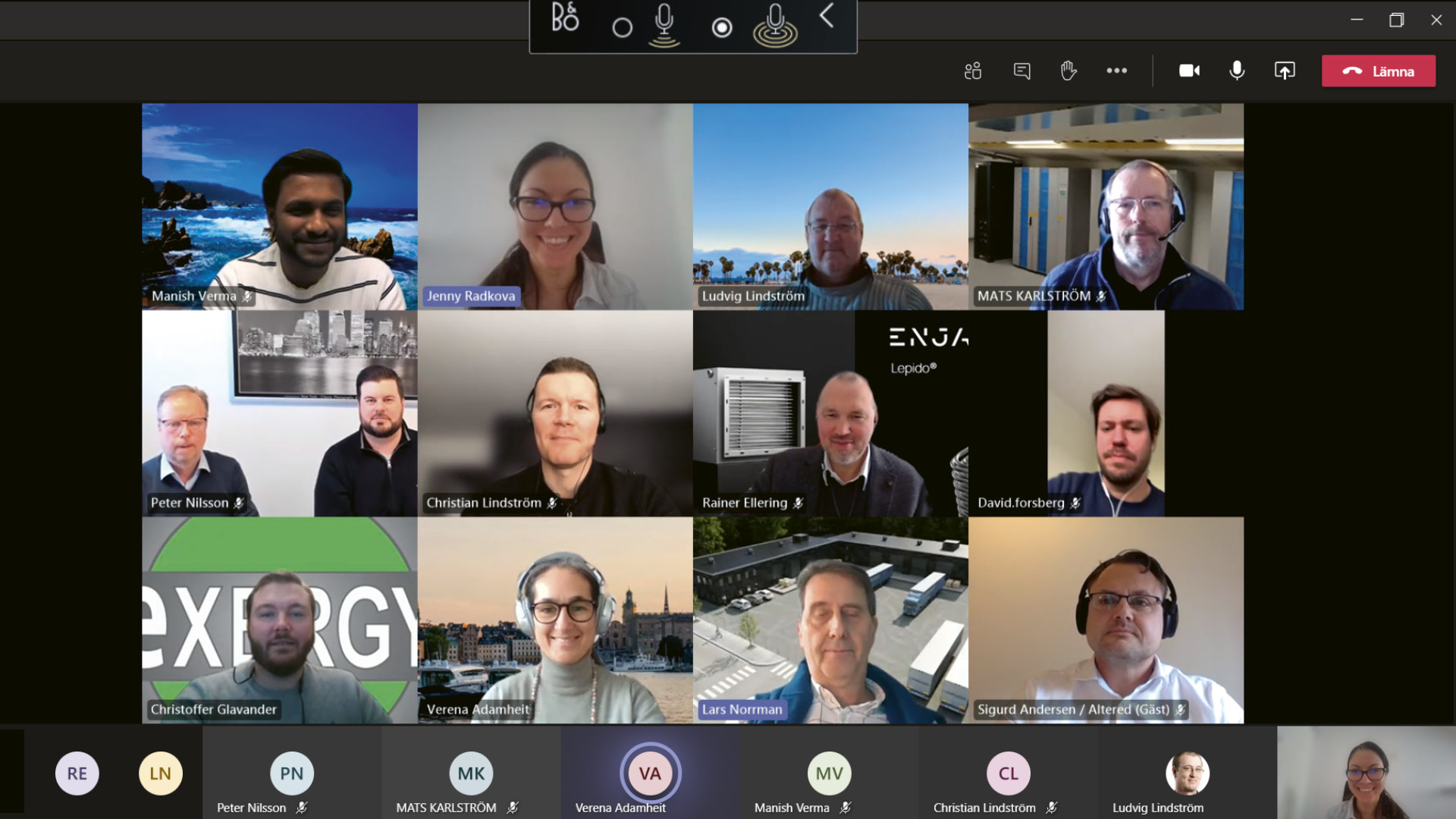 Screen image of fourteen people in a digital meeting.